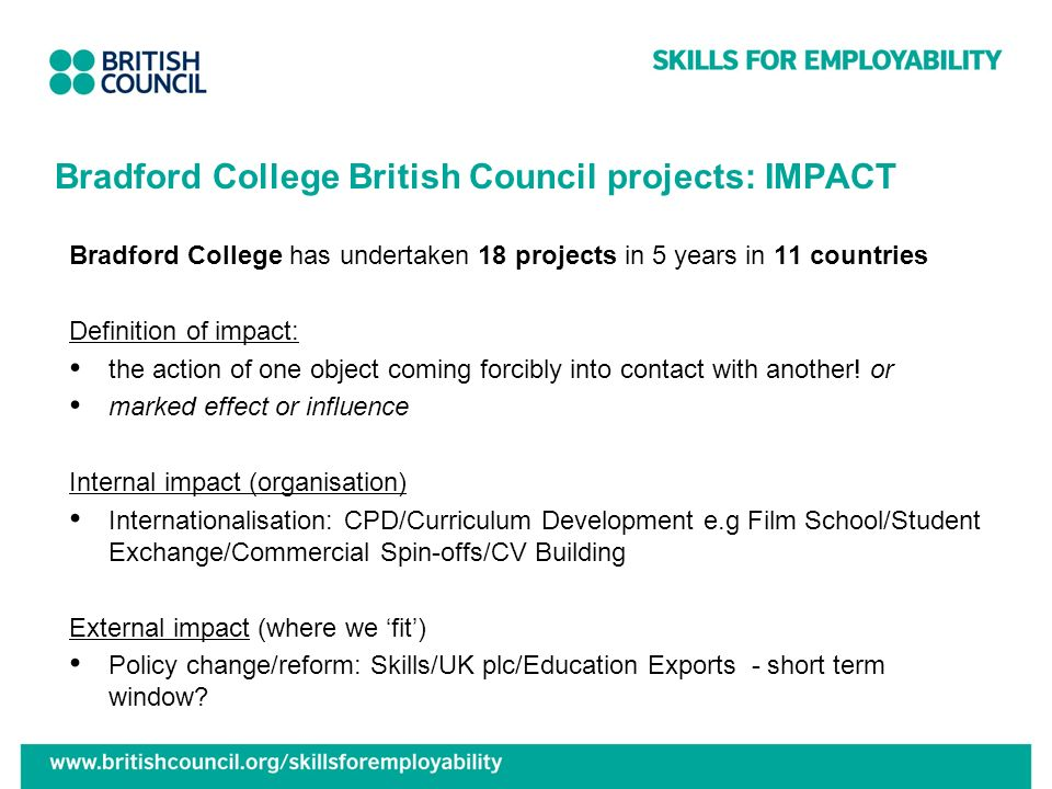 Bradford College British Council projects: IMPACT