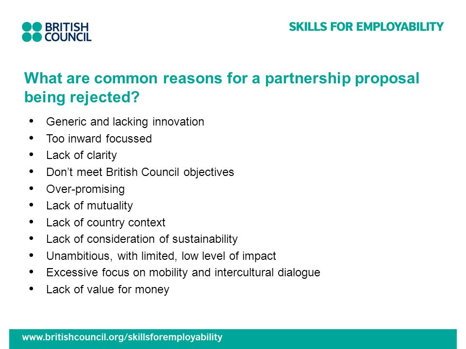 What are common reasons for a partnership proposal being rejected