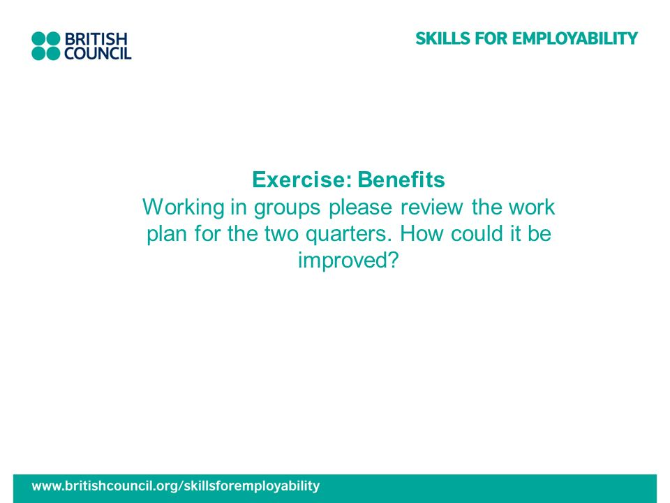 Exercise: Benefits Working in groups please review the work plan for the two quarters.