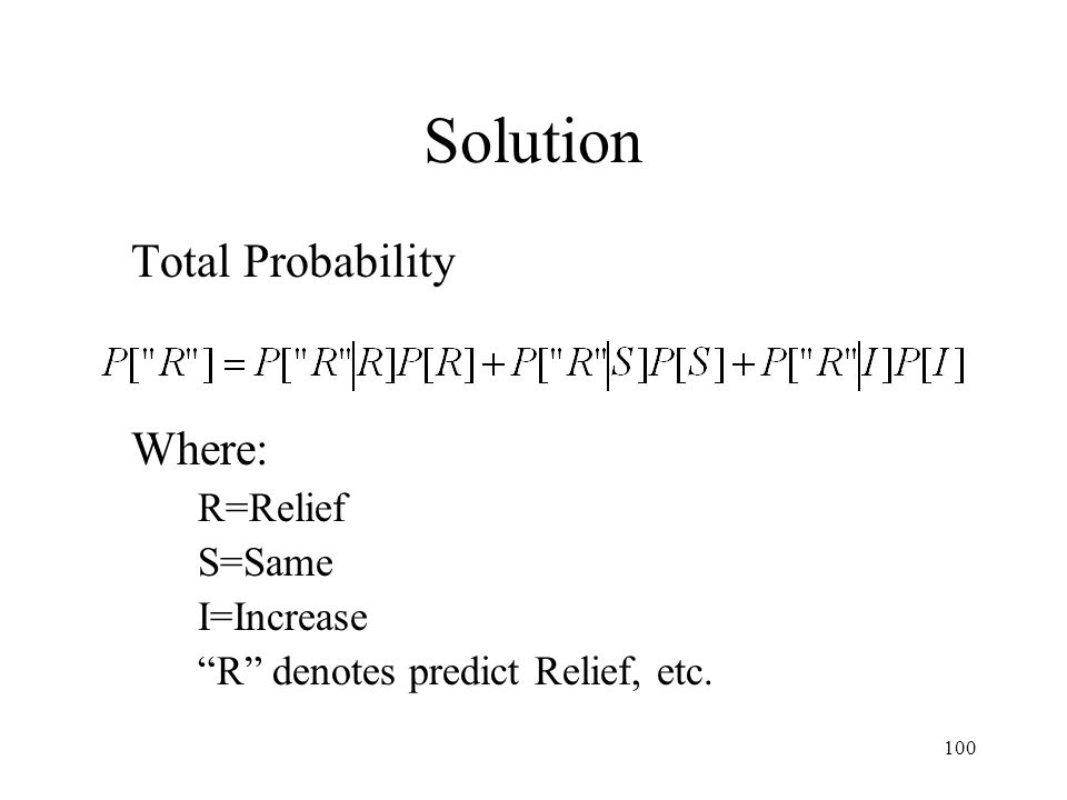 Solution Total Probability Where: R=Relief S=Same I=Increase