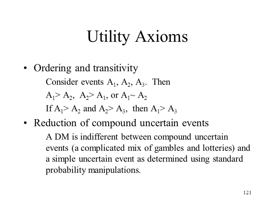 Utility Axioms Ordering and transitivity