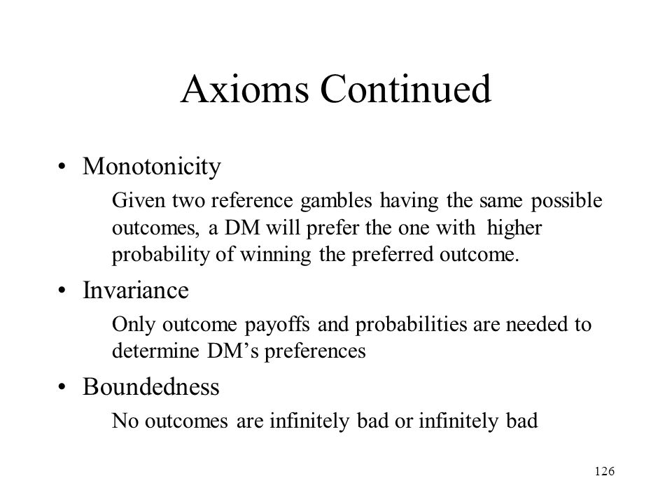 Axioms Continued Monotonicity Invariance Boundedness