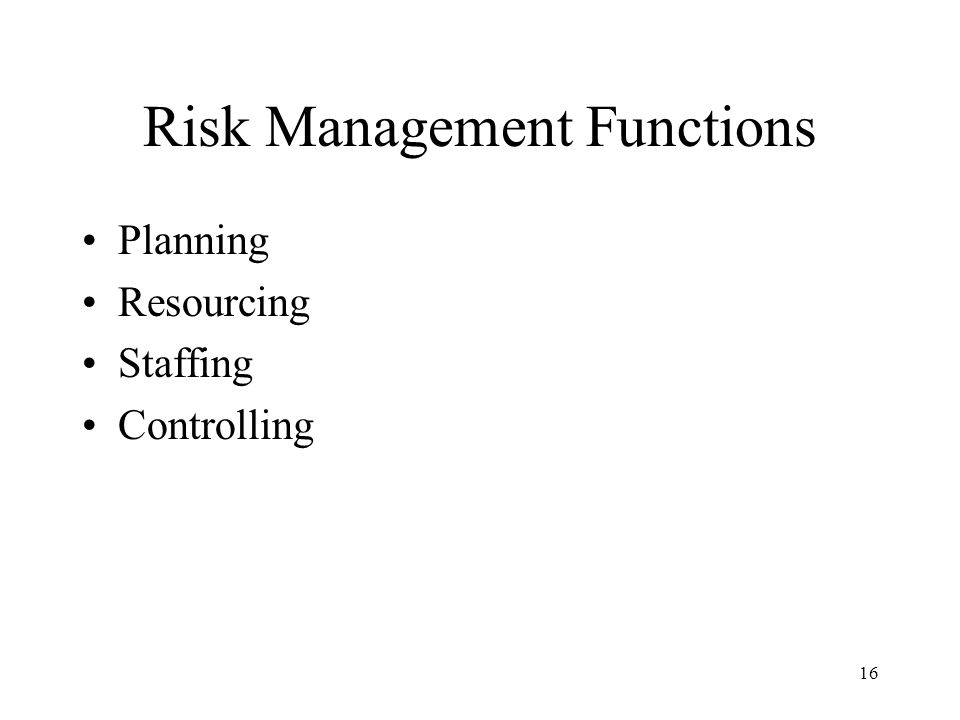 Risk Management Functions