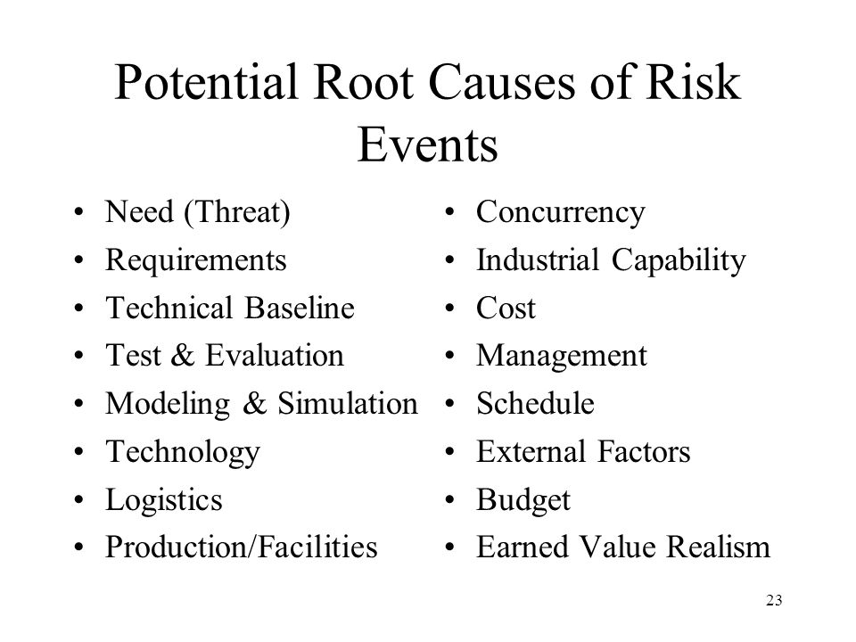 Potential Root Causes of Risk Events