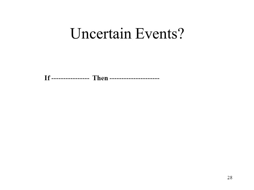 Uncertain Events If ---------------- Then ---------------------