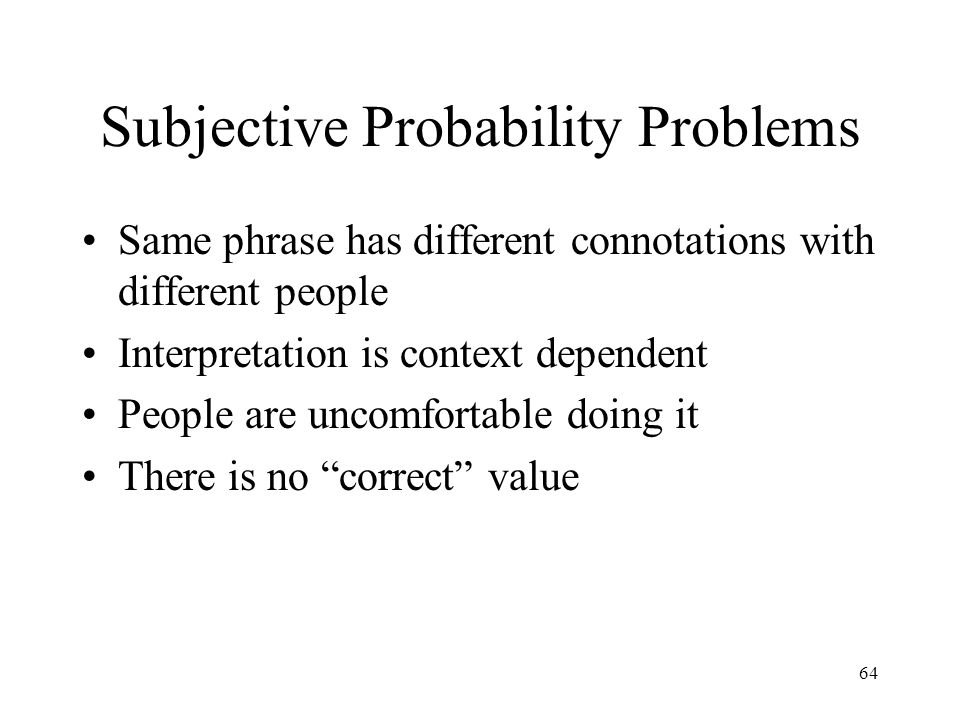 Subjective Probability Problems