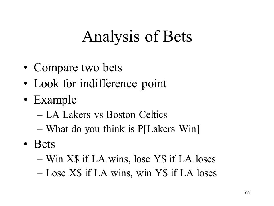 Analysis of Bets Compare two bets Look for indifference point Example