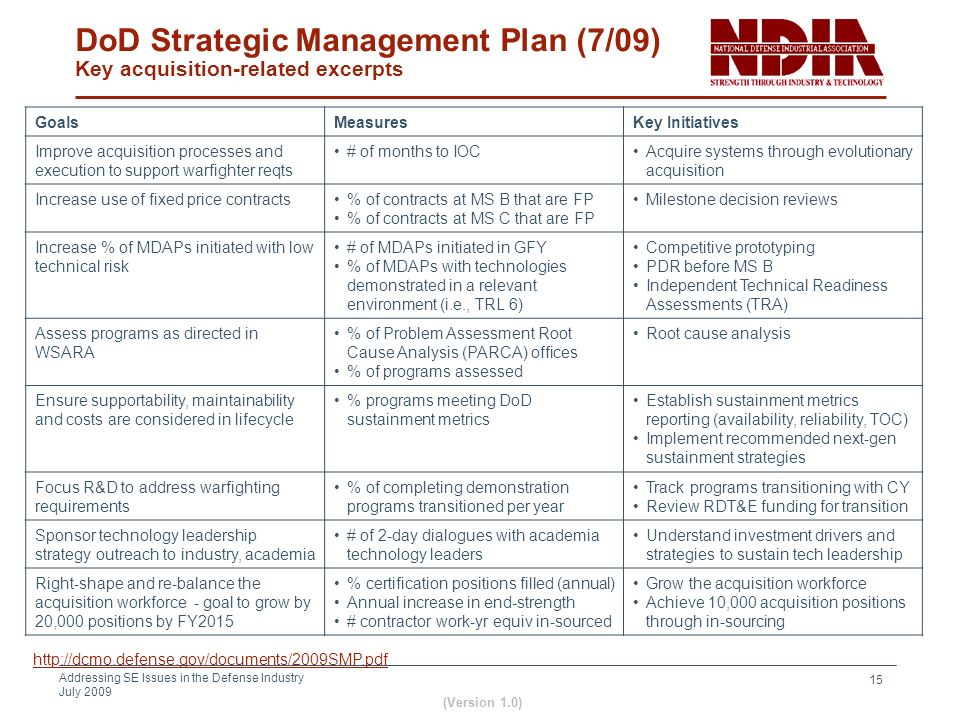 DoD Strategic Management Plan (7/09) Key acquisition-related excerpts