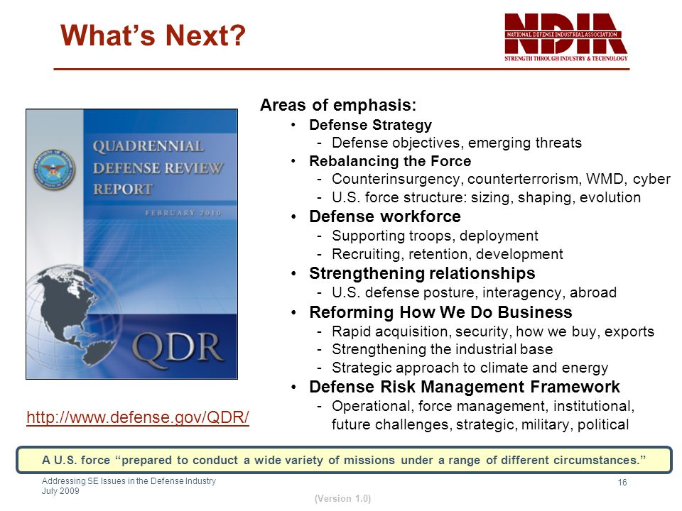 What's Next Areas of emphasis: Defense workforce