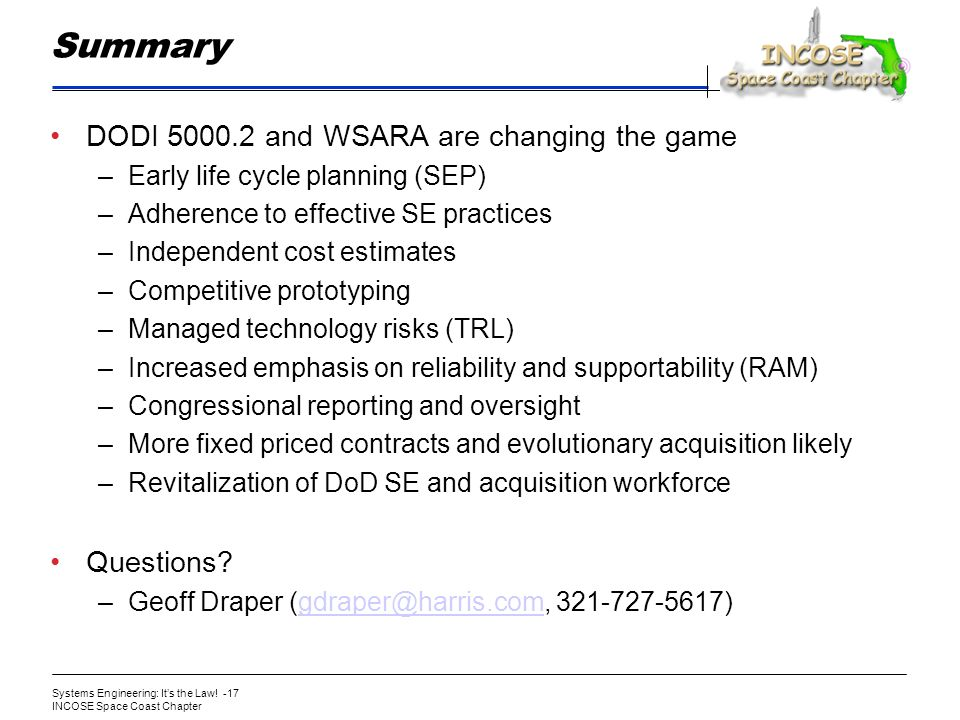 Summary DODI 5000.2 and WSARA are changing the game Questions