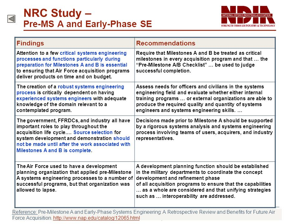 NRC Study – Pre-MS A and Early-Phase SE