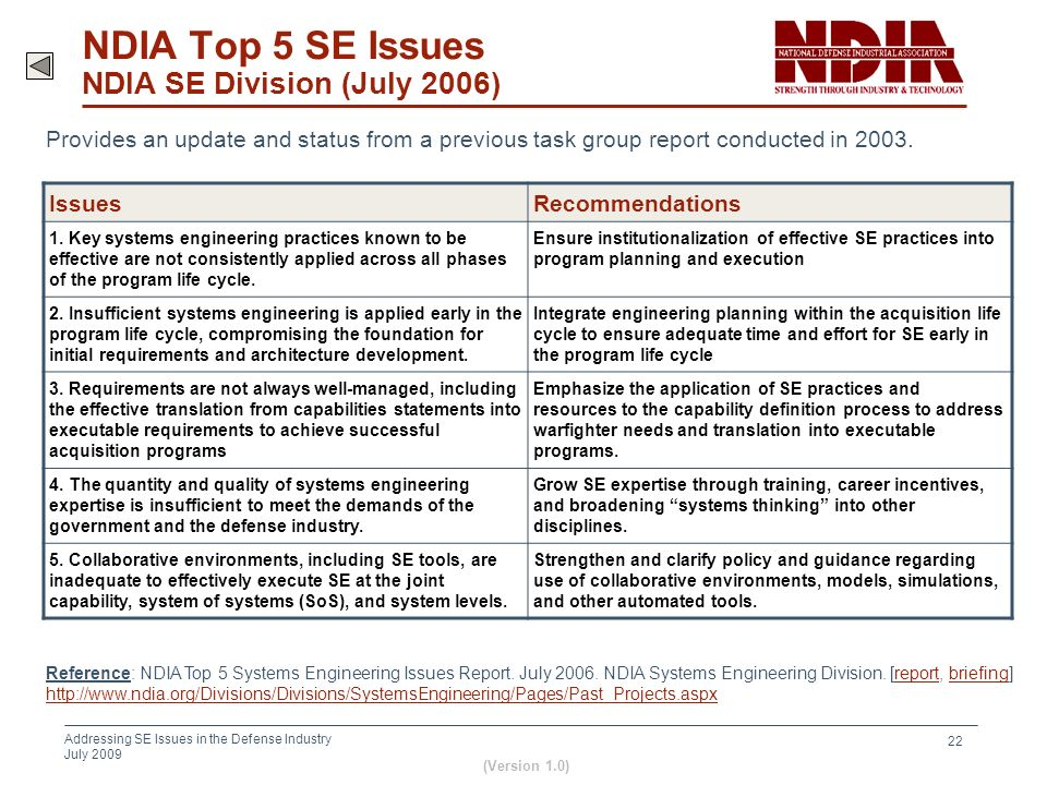 NDIA Top 5 SE Issues NDIA SE Division (July 2006)