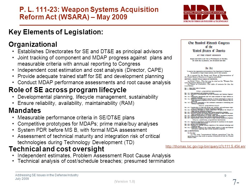 P. L. 111-23: Weapon Systems Acquisition Reform Act (WSARA) – May 2009