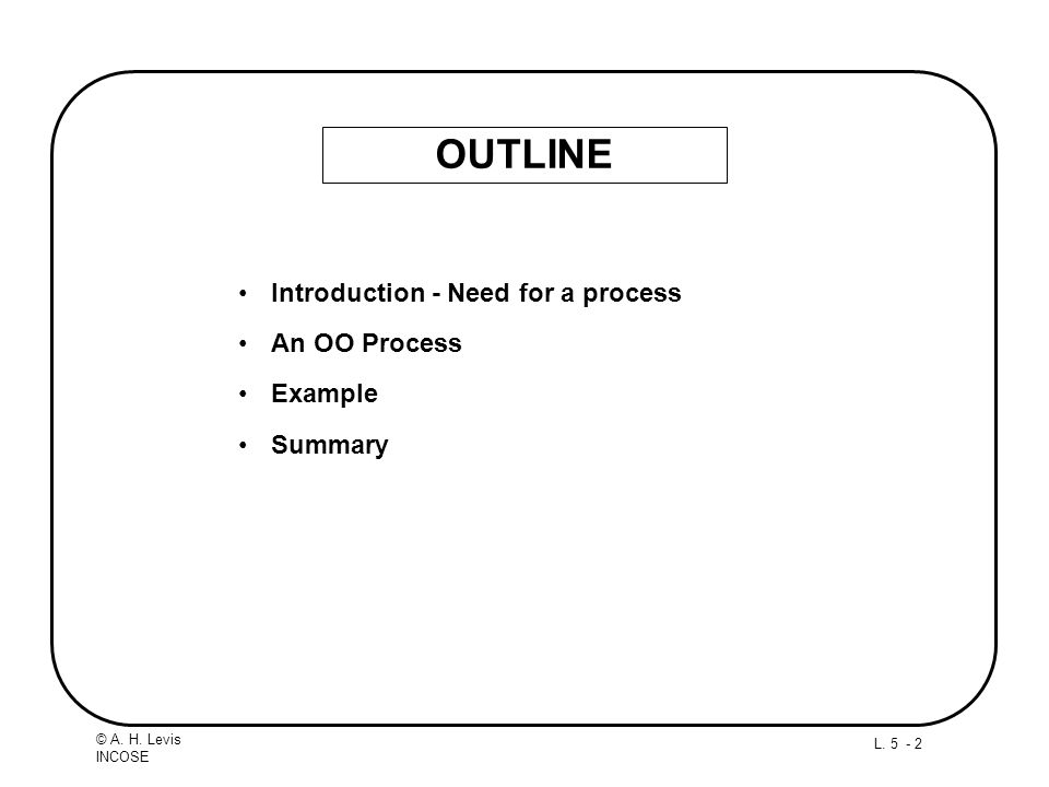 OUTLINE Introduction - Need for a process An OO Process Example