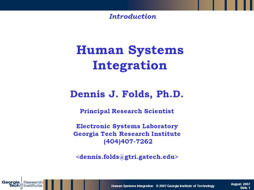 Human Systems Integration