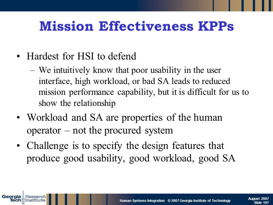 Mission Effectiveness KPPs