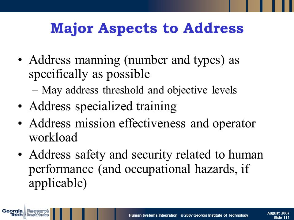 Major Aspects to Address