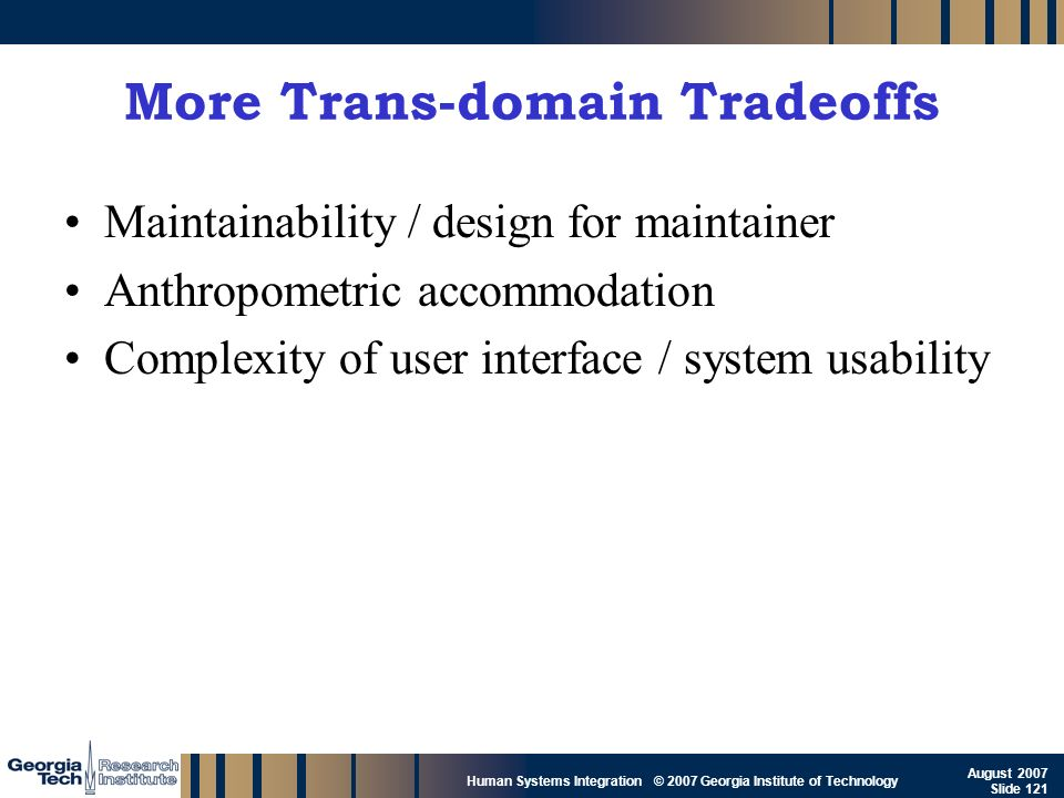 More Trans-domain Tradeoffs