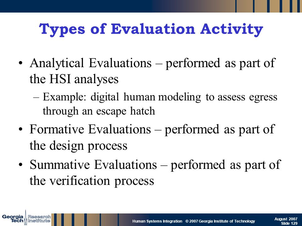 Types of Evaluation Activity