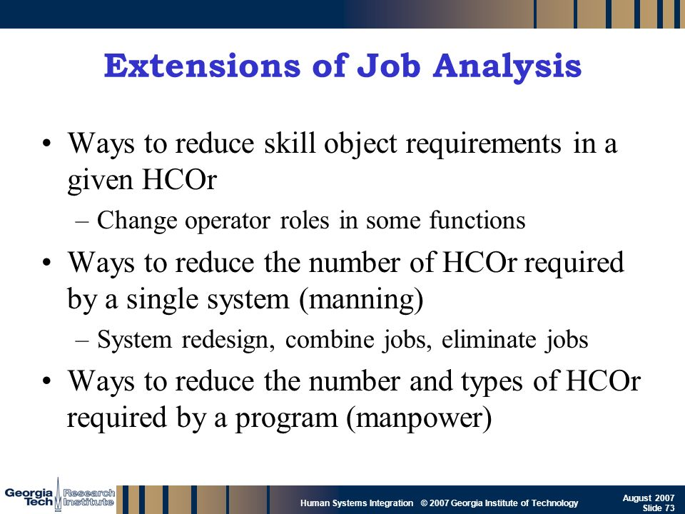 Extensions of Job Analysis