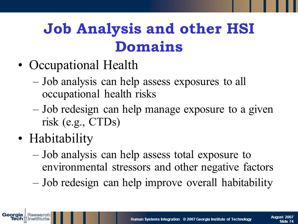 Job Analysis and other HSI Domains