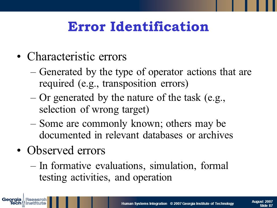Error Identification Characteristic errors Observed errors
