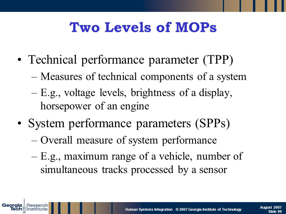 Two Levels of MOPs Technical performance parameter (TPP)