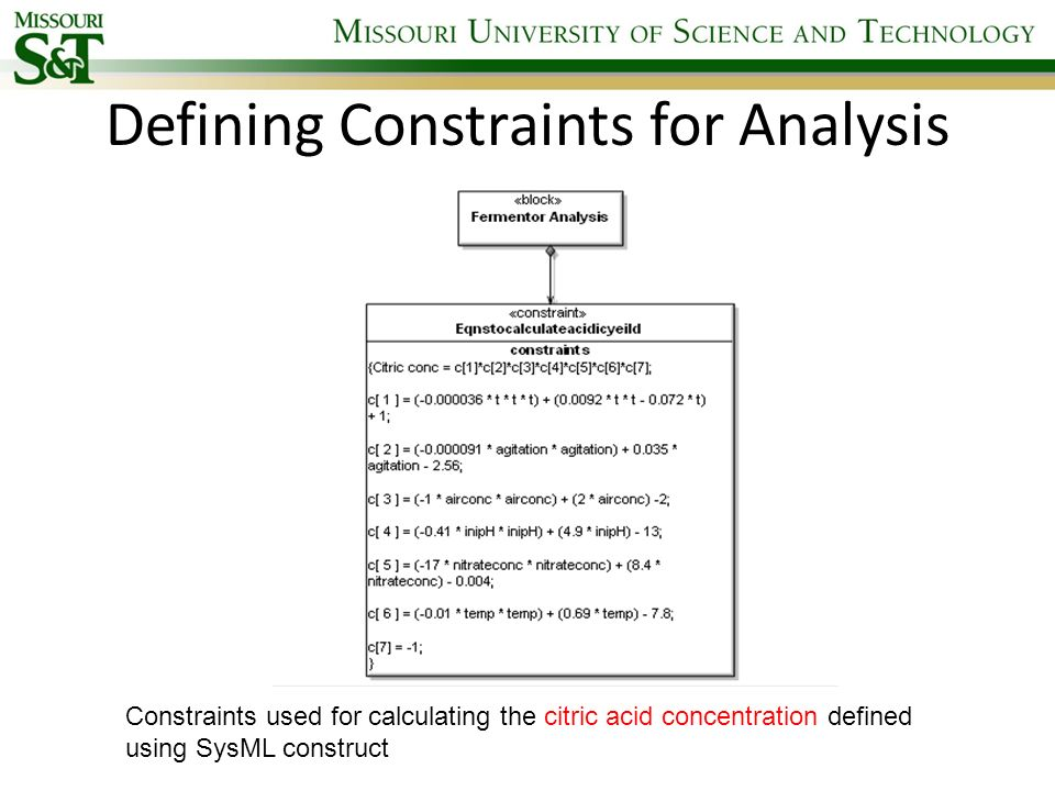 Defining Constraints for Analysis