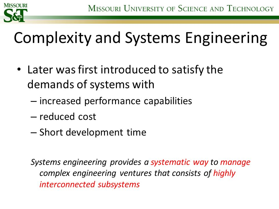 Complexity and Systems Engineering