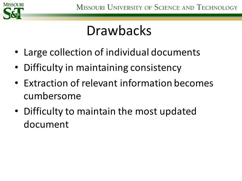 Drawbacks Large collection of individual documents