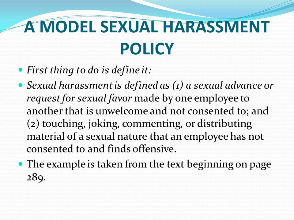 Model sexual harassment policies