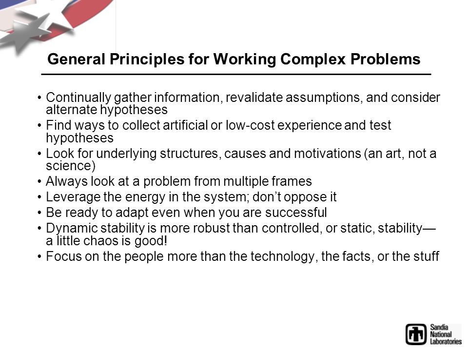 General Principles for Working Complex Problems
