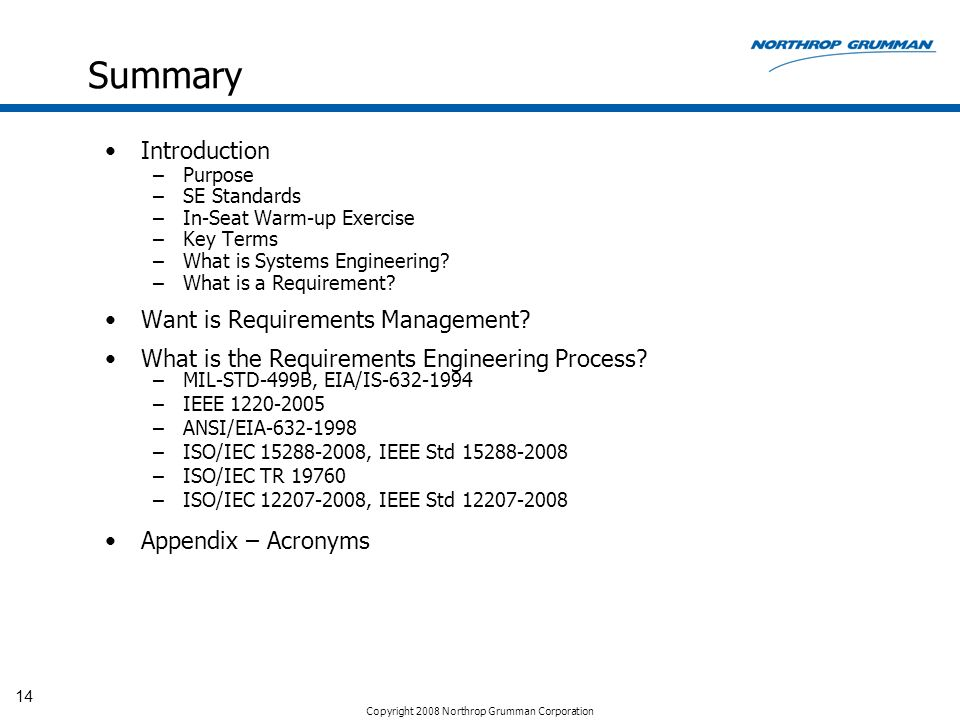 Summary Introduction Want is Requirements Management