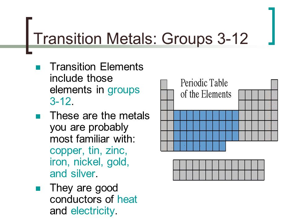 Unit 5 section 3 notes families of elements ppt download transition metals groups 3 12 urtaz Image collections