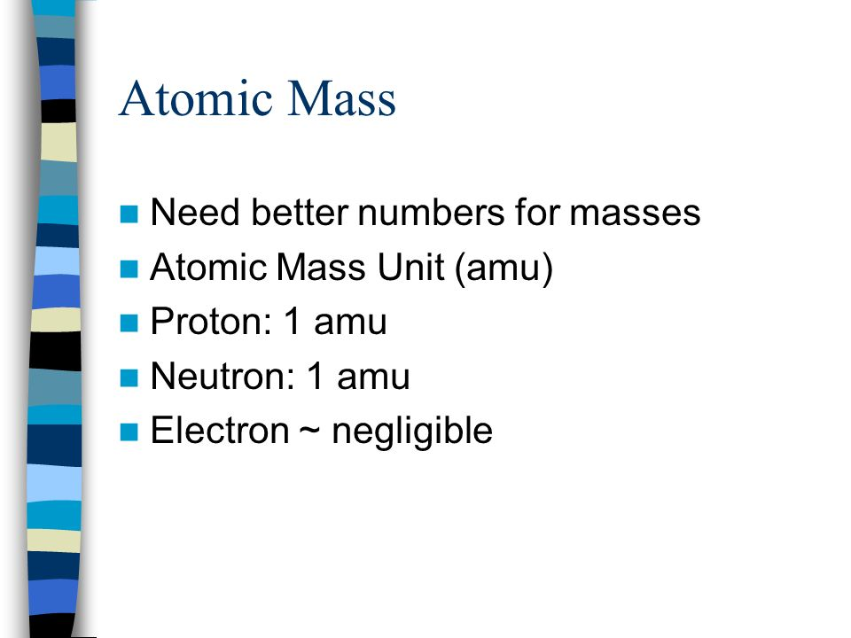 Atomic Mass Need better numbers for masses Atomic Mass Unit (amu)