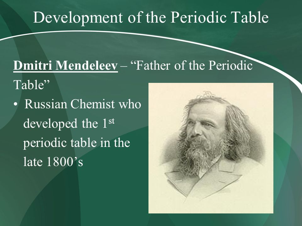 the development of the periodic table 2018/10/11 introduction the purpose of this lesson is to introduce and focus on the early history of the periodic table students should use information from a brief history of the development of periodic table to complete a timeline this sheet provides key dates, facts, figures.