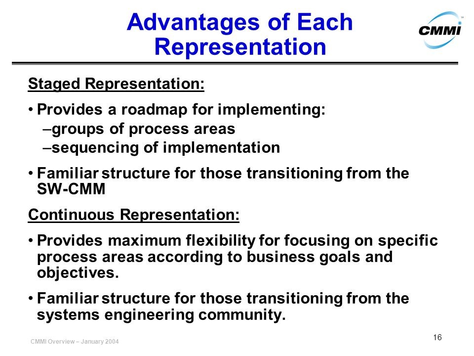 Advantages of Each Representation