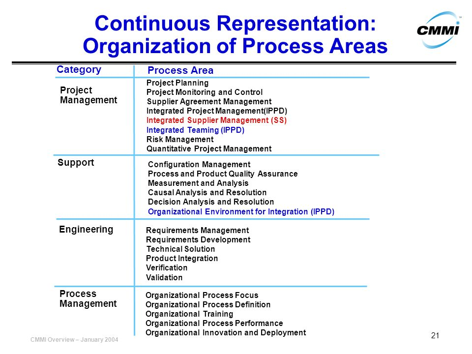 Continuous Representation: Organization of Process Areas