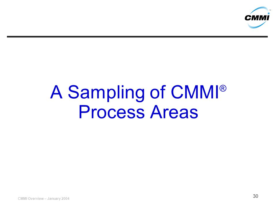 A Sampling of CMMI® Process Areas