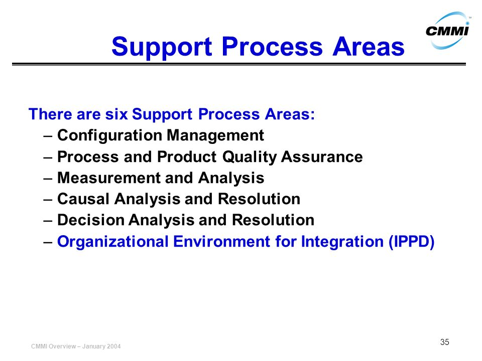 Support Process Areas There are six Support Process Areas: