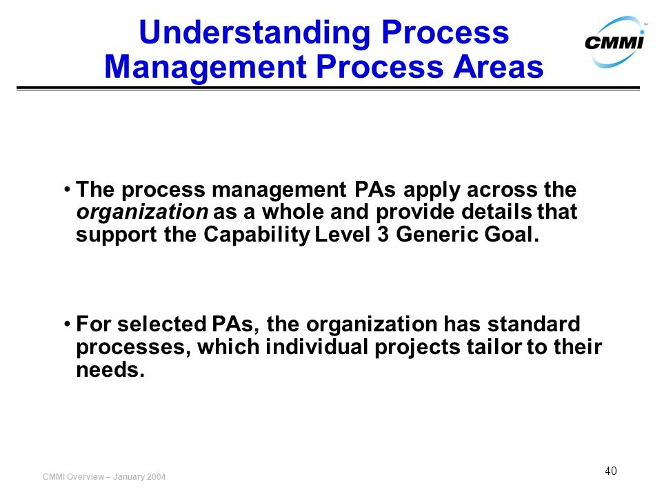 Understanding Process Management Process Areas