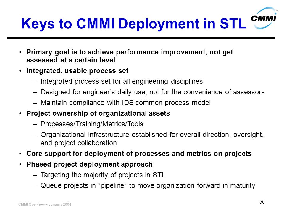 Keys to CMMI Deployment in STL