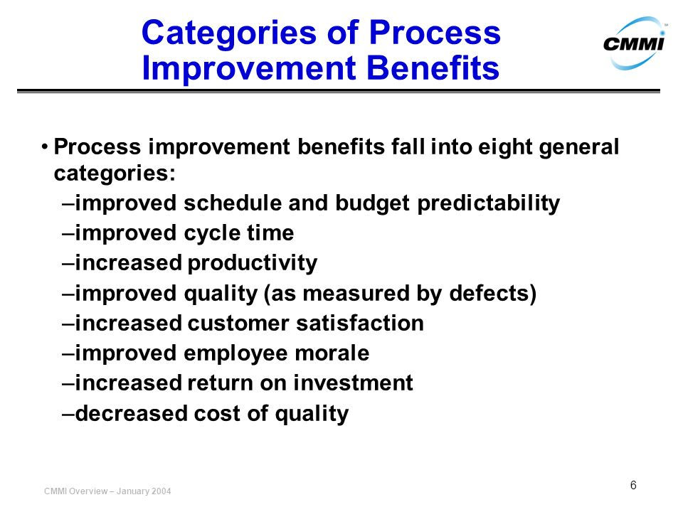 Categories of Process Improvement Benefits