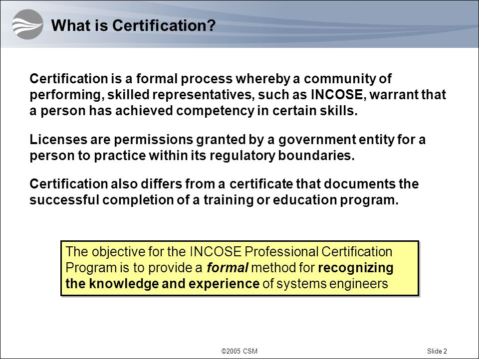 What is Certification