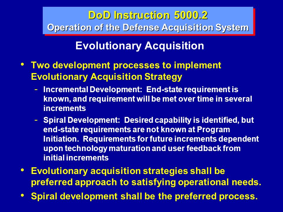 Operation of the Defense Acquisition System