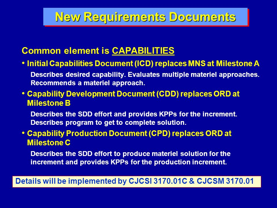 New Requirements Documents