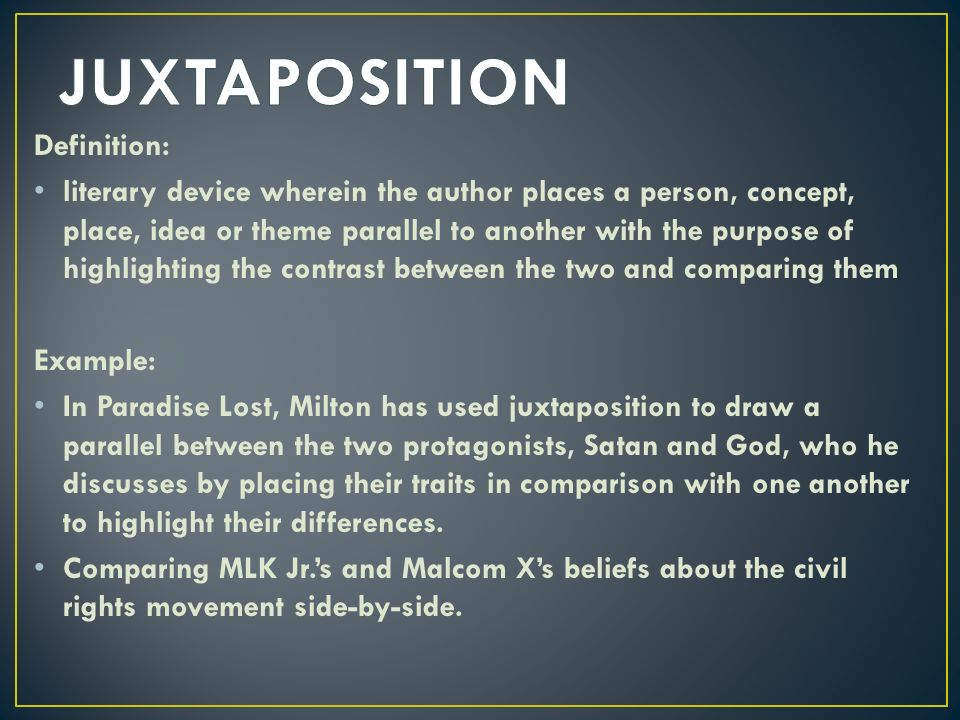 antithesis and juxtaposition The main difference between antithesis and oxymoron is that an antithesis involves apparently contradictory ideas, concepts within a balanced grammatical structure whereas an oxymoron is the combination of seemingly contradictory terms what is antithesis.