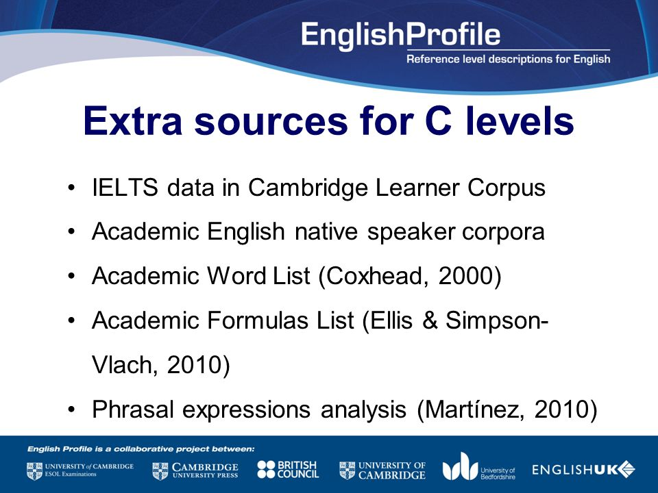 Extra sources for C levels