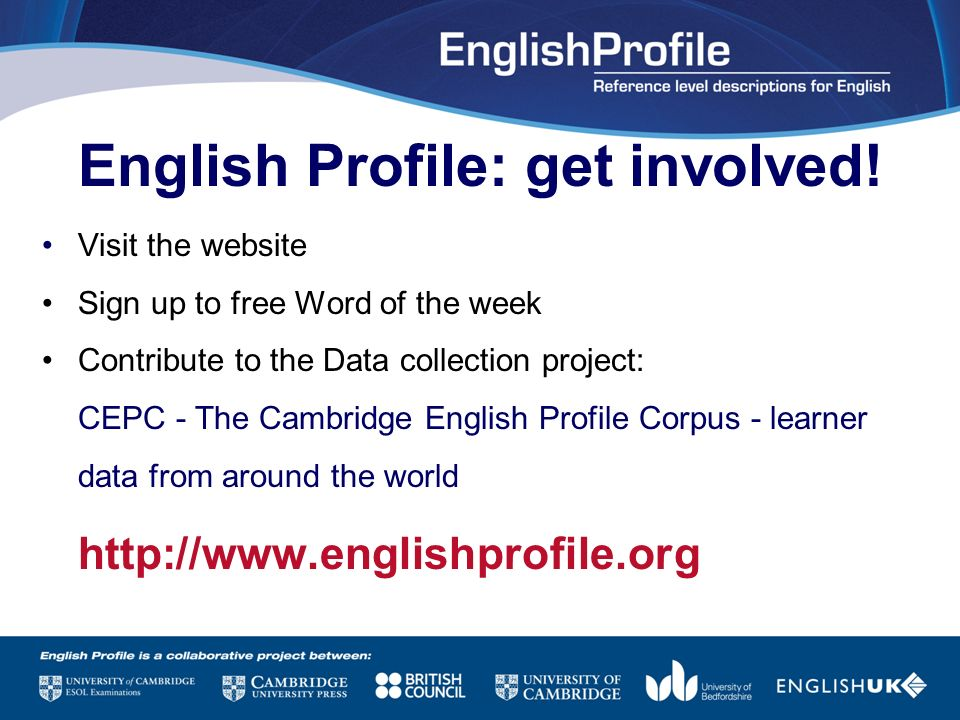 English Profile: get involved!