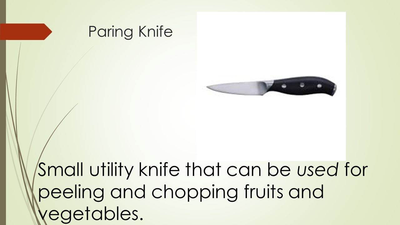 Paring Knife Small utility knife that can be used for peeling and chopping fruits and vegetables.